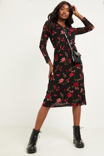 Black & Red Mesh Floral Midi Dress